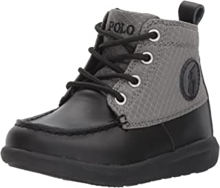 Polo Ralph Lauren Kids Boys' Ranger Sport Fashion Boot, Black Burnished Leather Grey Nylon, 1 Medium US Little Kid