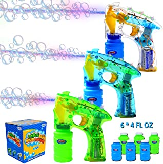 JOYIN 3 Bubble Guns Kit for Bubble Blaster Party Favors, LED Bubble Machine Blaster Party Supplies, Summer Toy, Outdoors Activity, Birthday Gift, Bubble Blower Toy