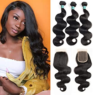 ALI GRACE Brazilian Body Wave Unprocessed Remy Human Hair Extensions 3 Bundles with 4x4 Lace Closure Natural Black Color (18