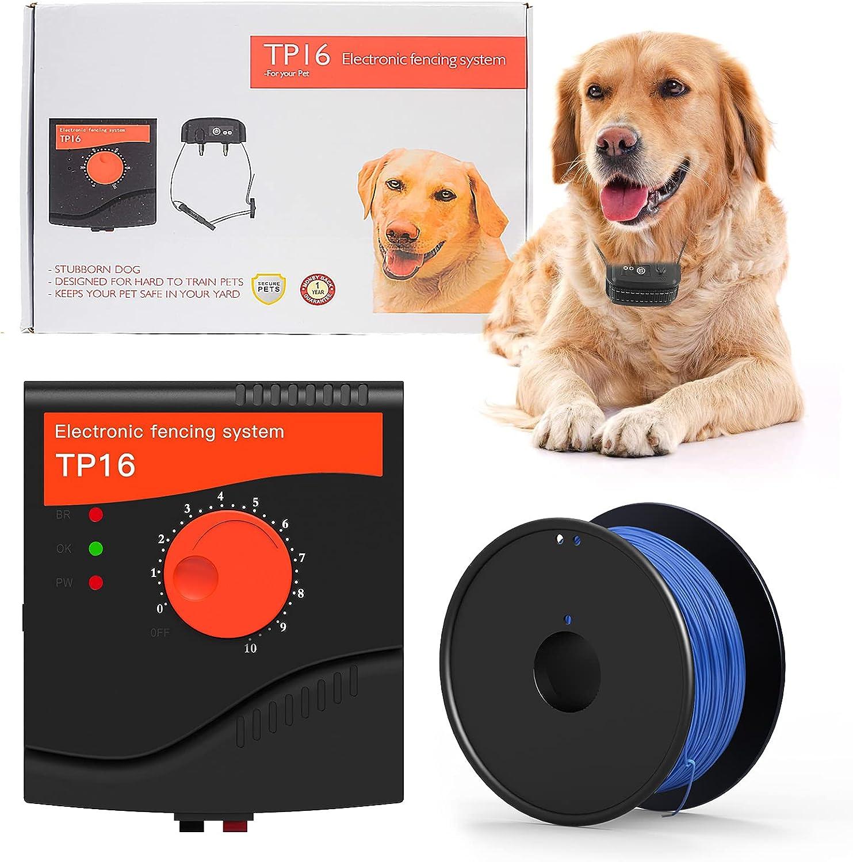Wodondog Valla Invisible y Collares Antifuga para Perros Cerca Eléctrica para Perros, Sistema de Valla para Mascotas, con Cable de 300 Meter, Recargable e Impermeable