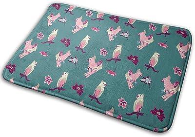 Pink Parrots and Flowers Cute Carpet Non-Slip Welcome Front Doormat Entryway Carpet Washable Outdoor Indoor Mat Room Rug 15.7 X 23.6 inch