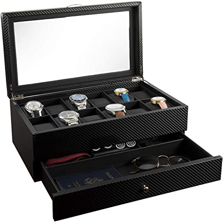 Watch Box- Display Case & Organizer For Men  First-Class Jewelry Watch Holder  12 Watch Slots & Valet Drawer for Sunglasses, Rings, Phone  Sleek Black Color, Glass Top, Carbon Fiber, & Faux Leather