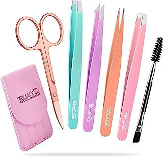 ست موچین ، TsMADDTs موچین برای ابرو نکات مایل به زنگ استیل ضد زنگ ست موچین و قیچی خمیده برای موهای درون ، موی صورت ، بریدگی و جوش های سرسیاه ، ابزار زیبایی روزانه برداشت مو