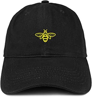 Bee Embroidered Brushed Cotton Dad Hat Cap