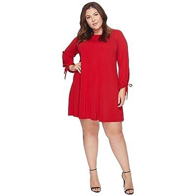 Karen Kane Plus Plus Size Tie Sleeve Swing Dress (Red) Women