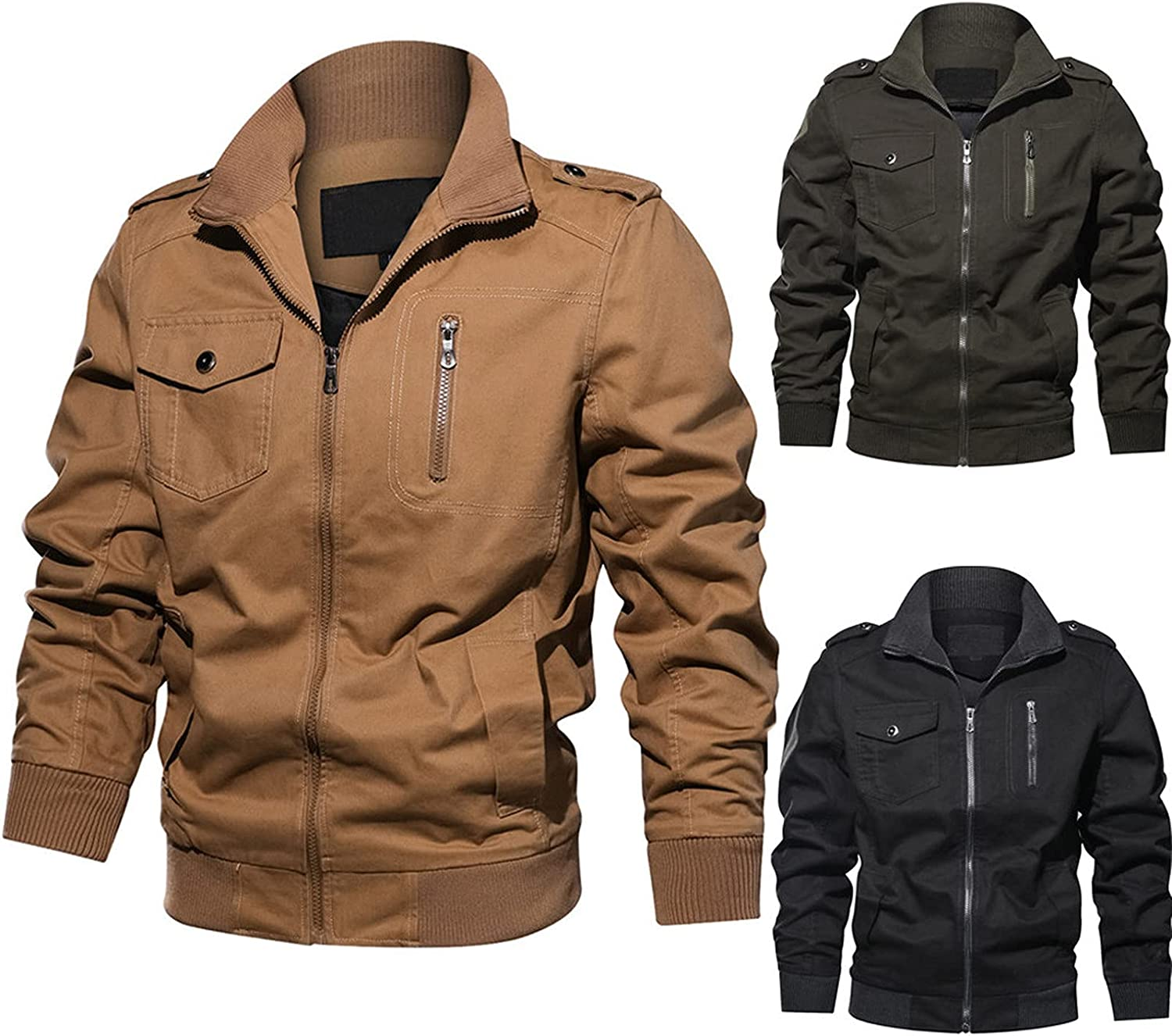 Men's Plus Size Military Jackets Cotton Solid Bomber Coat Stand Collar Zipper Jacket Motorcycle Outwear with Pockets 6XL