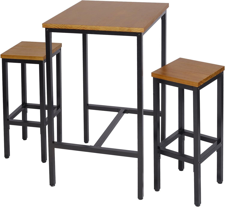 WOLTU BT12hei+BH86hei-2 1x Bartisch + 2X Barhocker Set Bistrotisch Stehtisch Esstisch Essgruppe, Metallgestell, Massivholz, Eiche, 66x66x110cm(BxTxH)