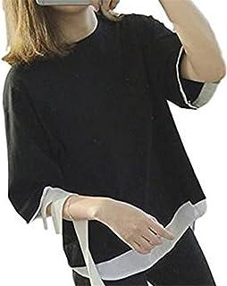 [ファンノシ]FanessyTシャツ レディース  トップス スウェット  レイヤード風  大きいサイズ ゆったり 爽やかな 無地 ブラック グレー M L XL XXL おしゃれ