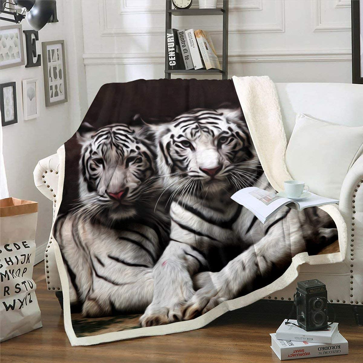 Erosebridal Elegant White Tiger Sherpa Blanket 3D Print Ranking TOP13 Animal Bl Throw