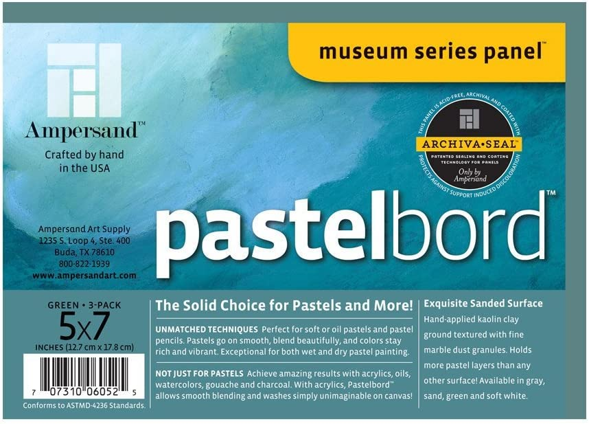 Assorted-1//8 Inch Depth 5X7 Pack of 3 Ampersand Art Supply Museum Series Pastelbord