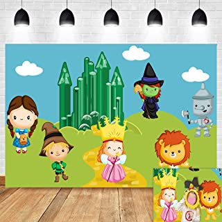 Cartoon Wizard of Oz Photo Background 7x5ft Kids Birthday Party Supplies Cute Tin Scarecrow Lion Emerald City Photography Backdrop Baby Shower Photo Booths Studio Props Decorations Vinyl