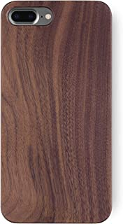 iATO iPhone 8 Plus Wooden Case - Real Walnut Wood Grain Premium Protective Shockproof Slim Back Cover. Unique & Classy Snap on Thin Bumper Accessory Designed for iPhone 8+ | Supports Wireless Charging