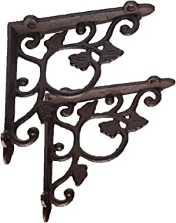 DRD&M 2 Pack Ornate Cast Iron Farmhouse Leaf and Vine, Antique Style Brown/Black Shelf Bracket & Plant Hanger Perfect for Shelves Around The House 1.5-Inch x 7.5-Inch x 7.5-Inch CI181