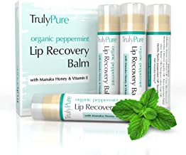 100% ORGANIC Peppermint Lip Balm - 4 Pack - Moisturizing Lip Care with Manuka Honey, Shea Butter, Vitamin E, Beeswax - To Repair & Protect Chapped & Cracked Lips - No GMOs - Truly Pure
