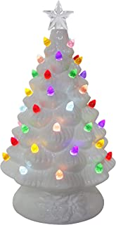 ReLive Ceramic 8 Inch White Christmas Tree with White Lights and Music