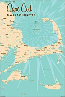 Cape Cod Massachusetts Vintage-Style Map Art Print Poster by Lakebound. 24x36 inch LB-20226 D