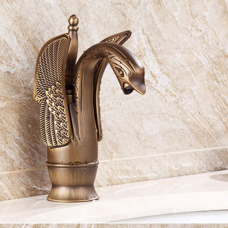 XJJ Antike Wasserhahn hei und kalt Vintage Waschbecken Swan Wasserhahn Waschbecken WasserhahnB