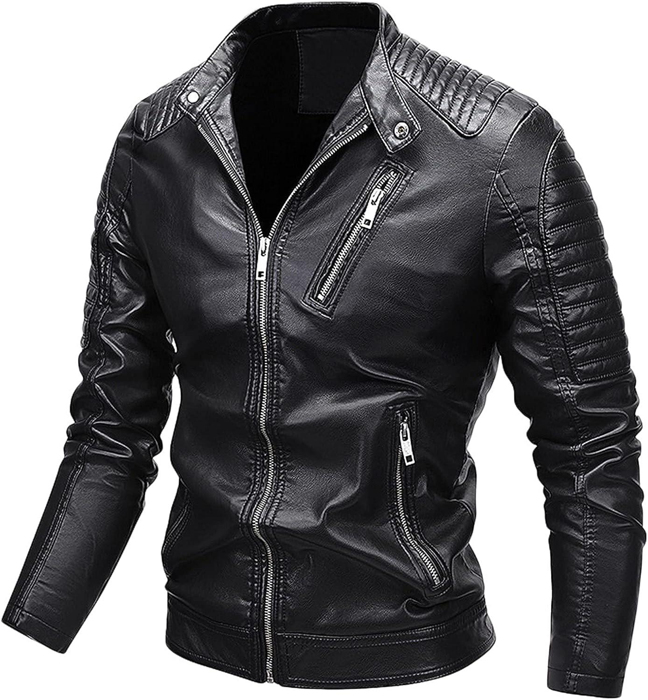 Windbreaker Jackets for Men,Men's Autumn And Winter Leisure Cashmere Zipper Stand Collar Pocket Leather Coat Jacket Jacket