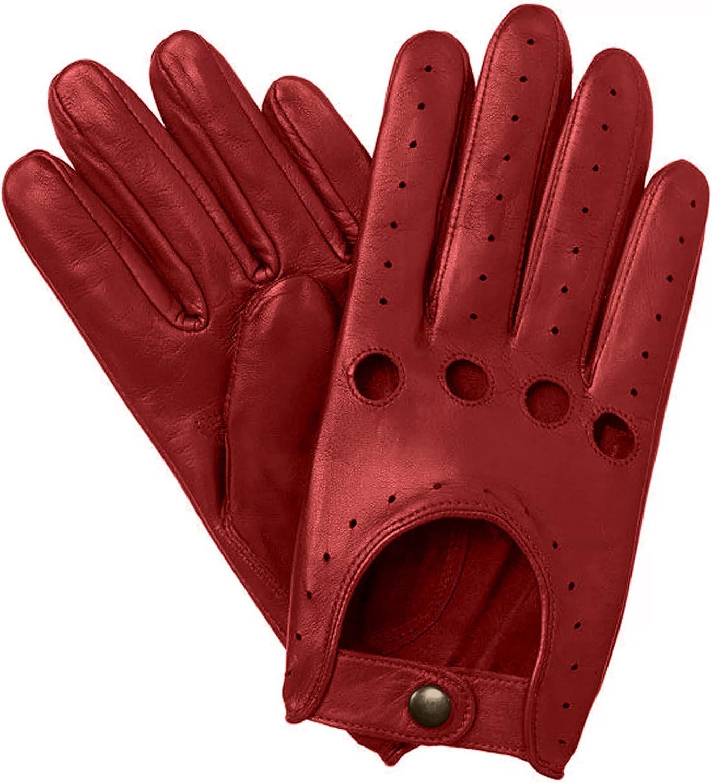 Sheepskin Chauffeur Driving Gloves - Red