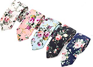 5 Pack Neckties Mens Tie Set Floral Skinny Narrow Wedding Party Cotton Neck Tie for Groom, Groomsmen