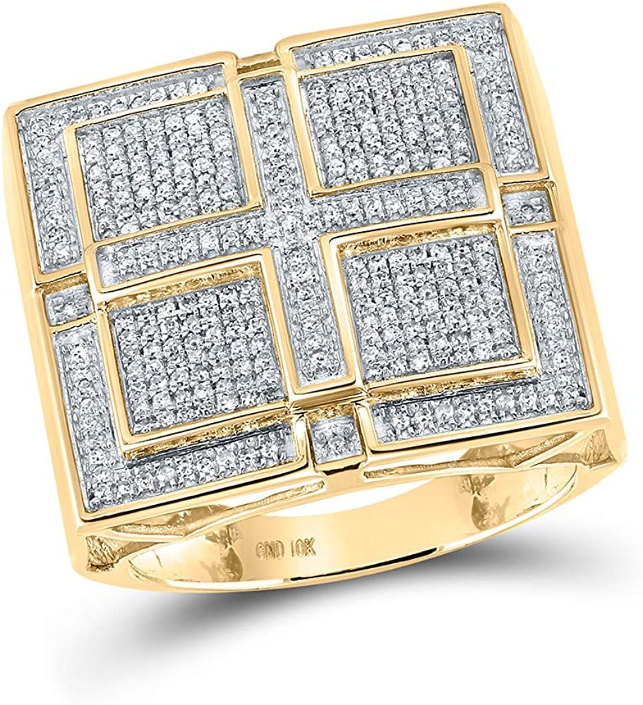 10kt Sacramento Mall Yellow Gold Limited Special Price Mens Round Diamond Cluste Square Cross Pave-set