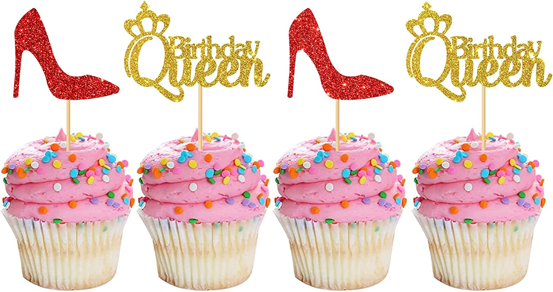 MonMon Craft 24 Pcs Queen Birthday G Regular store Toppers Under blast sales Cupcake Women for