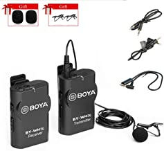 Wireless Lavalier Microphone Set Interview Mic, BOYA WM2G Lav Lapel Mic for iOS Smartphone, iPhone, Camera Nikon, Canon, Action Camera, Gopro, DSLR, Camcorder, Interview, Vlog