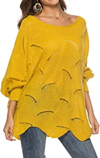 GOLDSTITCH Women's Pullover Batwing Sleeve Loose Hollow Knit Sweaters - Yellow - Medium