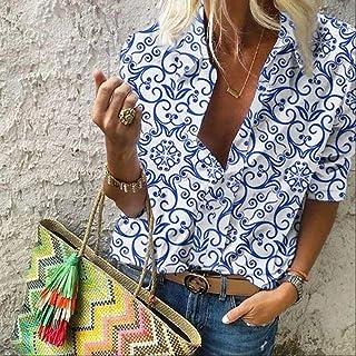 قمصان وتيشيرتات نسائية مطبوعة عتيقة اللون بأكمام طويلة من Makfacp (اللون: أزرق، المقاس: M)