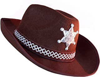 Western Sheriff Cowboy Hat - One Size with Elastic Band - Costume Accessories - with Badge