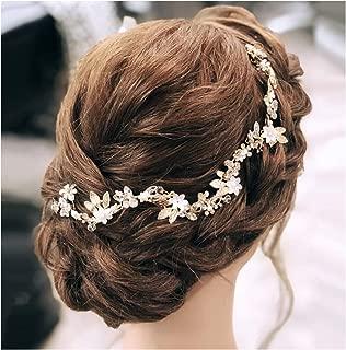 SWEETV Rhinestone Bridal Headband Tiara, Gold Crystal Wedding Hair Jewelry Accessories Headpiece for Brides, Bridesmaid, Women and Girl