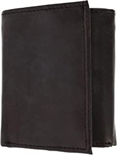 CTM Men's Leather Trifold Wallet with Interior Zipper Coin Pocket, Brown