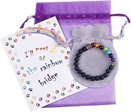 ESDAMIER Pet Memorial Bracelet Gift-Rainbow Bridge Nature Lava Bead Bracelet in Loving Memory of Your Beloved Pet Dog Cat