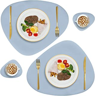 Faux Leather Placemats and Coasters Set, Round Leather for Dinner Table Mats Heat Resistant Non-Slip Washable Insulation C...
