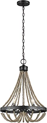 Sea Gull Lighting 3101903-872 Oglesby Three Light Chandelier Hanging Modern Fixture, Washed Pine
