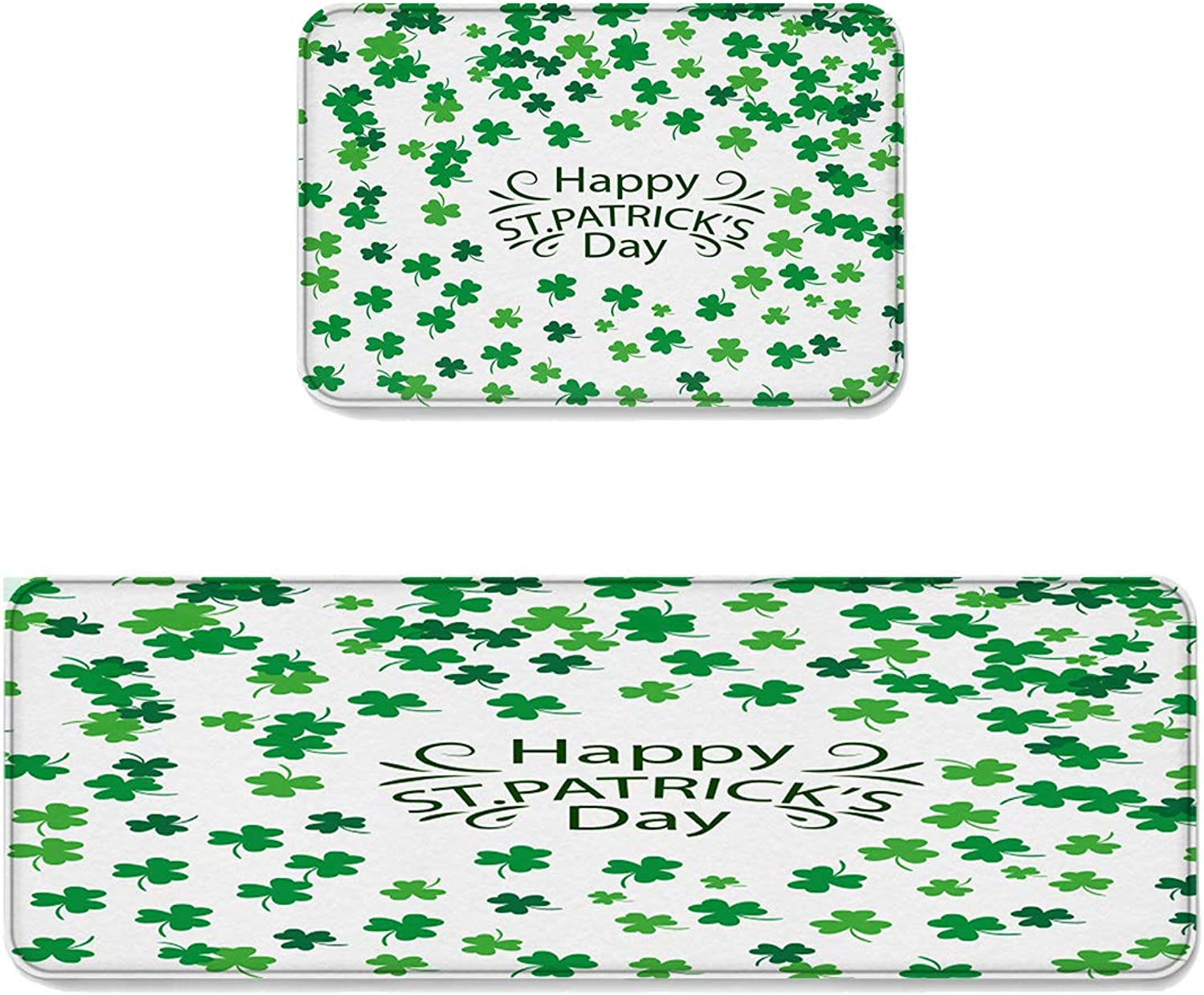 Kitchen Rug Sets 2 Piece Floor Mats Non-Slip Rubber Backing Area Rugs Happy St Patrick's Day Simple Shamrock Pattern Doormat Washable Carpet Inside Door Mat Pad Sets (19.7  x 31.5 +19.7  x 47.2 )