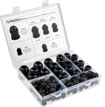 TUPARKA 50 Pack Cable Gland Waterproof Adjustable 3-16mm Cable Connectors PG7 PG9 PG11 PG13.5 PG16 PG19 Plastic Cable Gland Joints with Gaskets in PP Box