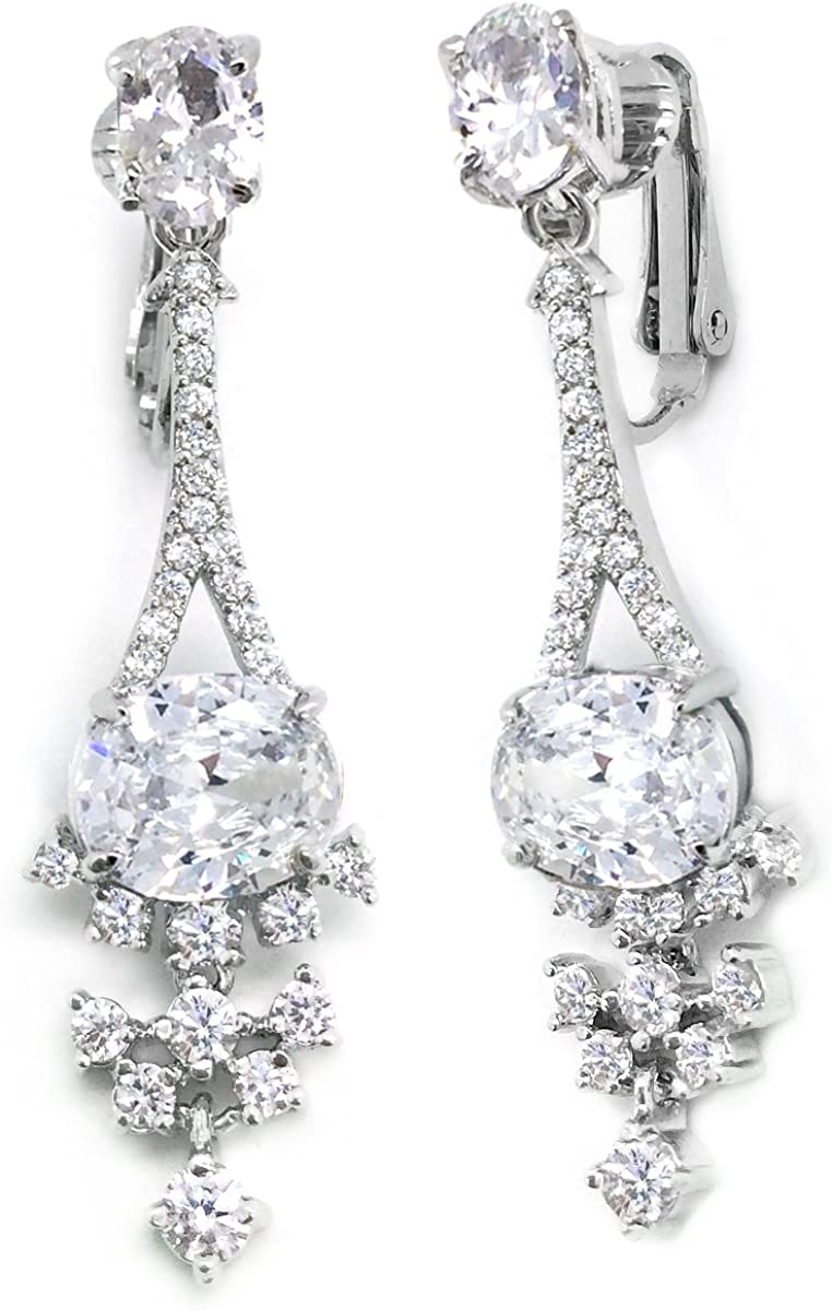 Sparkly Bride CZ Clip on Earrings ! Super beauty product restock quality top! Cluster F Women Rhodium Plated Easy-to-use