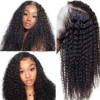 Jaja Hair Human Hair Lace Front Wigs 150% Density Brazilian Kinky Curly Wave Human Hair for Black Women Pre Plucked Hairline with Baby Hair and Adjustable Straps Natural Color 10 Inch