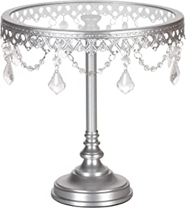 Amalfi Decor Cake Stand, Glass Top Tall Round Metal Pedestal Holder with Crystals, Silver, 10 Inches