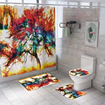 Cesippe Bath Curtains and Mats Set of 4 - Magic Tree Print Shower Curtain Bath Mat 4 Pieces Bathroom Non Slip Mats Toilet Pad Cover Absorbent Rugs with Hooks