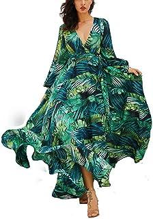 2e003ba5d47 AOOPOO Femme Robe Longue D été Bohême Maxi Robe Feuille Verte Imprimé  Floral Col V