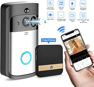 GJT Smart Video Doorbell Wireless Home WIFI Security Camera With Indoor Chime, 8G SD Card, Free Cloud Service, 2 Batteries, 2-Way Talk, Night Vision, PIR Motion Detection, APP Control for IOS Android