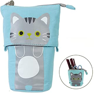 MontoSun Pencil Holder Pencil Case Cute Carton Cat Pen Bag Pouch Stand Store Stationery Bag Desk Organizer Canvas+PU Makeup Bag with Zipper for Girls Boys School Office Supplies(AK-Blue)