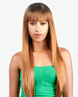 (JET BLACK) Abelle Synthethic Long Straight Bang Wig - BANDE