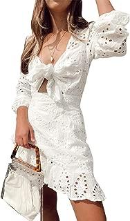 Women's Sexy Long Sleeve Lace Ruffle Mini Dress Hollow Out Summer Dress