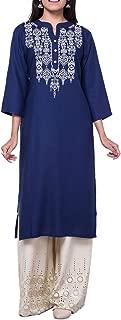 Womens Plain Embroidered Rayon Tunic Top 3/4 Sleeves Kurti Kurta Knee Length Evening Dress