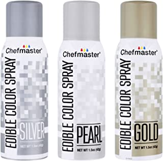 U.S. Cake Supply by Chefmaster Edible Spray Food Coloring 3 Color Kit - Gold, Silver, Pearl