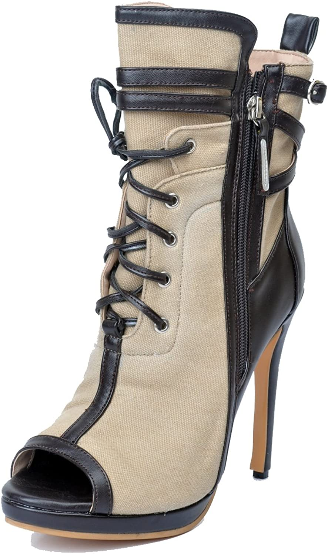 Original Intention Women Ankle Boots Peep Toe Thin High Heels Boots Khaki shoes