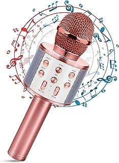 Micrófono Karaoke Bluetooth, Portátil Inalámbrica Micrófono y Altavoz del Karaoke con LED para Niños Canta Partido Música,...